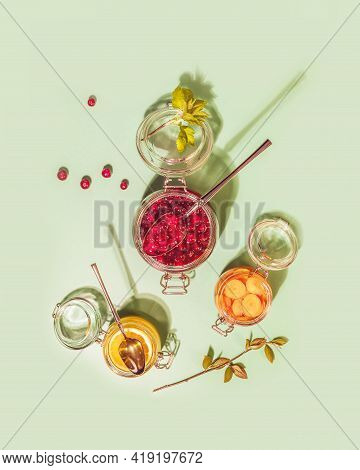 Fermentation And Storage Of Fruits Vegetables And Berries. Food Composition With Glass Jars With Fer