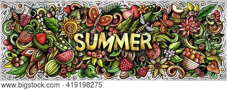 Summer Hand Drawn Cartoon Doodle Illustration.