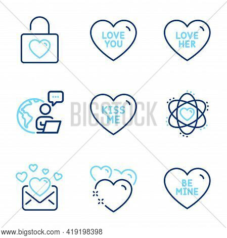 Love Icons Set. Included Icon As Kiss Me, Heart, Love Her Signs. Be Mine, Love You, Wedding Locker S