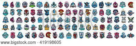 Huge Set Of Colorful Sports Logos, Emblems. Logos Of Knights, Horses, Superhero, Soldier, Skier, Mou