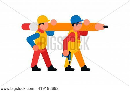 Workers Carrying A Large Cardash. Builders And Pencil. Rod, Graphite, Eraser, Power Tool. Vector Ill