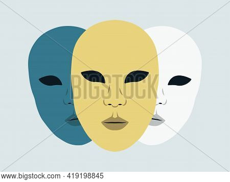 Vector Illustration Of Mysterious Theatrical Masks. Disguise, Masking Personality.