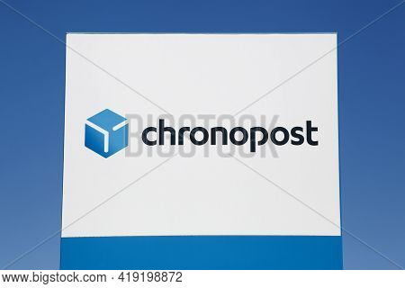 Lissieu, France - July 4, 2020: Chronopost Logo On A Signboard. Chronopost Is A Member Of The La Pos