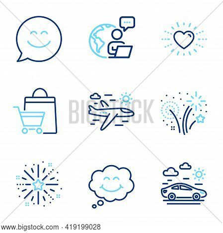 Holidays Icons Set. Included Icon As Smile, Heart, Smile Chat Signs. Sale Bags, Fireworks Explosion,