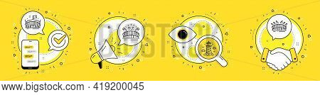 Arena, Lighthouse And Sports Arena Line Icons Set. Cell Phone, Megaphone And Deal Vector Icons. Spor