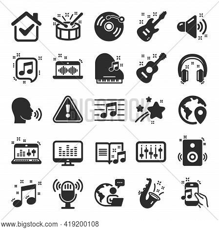 Music Icons. Set Of Acoustic Guitar, Musical Note And Vinyl Record. Jazz Saxophone, Drums With Drums