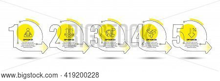 Speakers, Low Percent And Buyer Line Icons Set. Timeline Process Infograph. Wind Energy Sign. Sound,