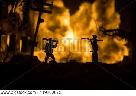 Military Soldiers Silhouettes With Bazooka And Rpg. War Concept. Military Silhouettes Fighting Scene