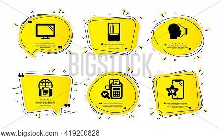 Monitor, Bill Accounting And Face Id Icons Simple Set. Yellow Speech Bubbles With Dotwork Effect. Re
