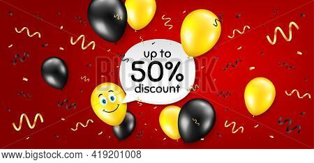 Up To 50 Percent Discount. Balloon Confetti Vector Background. Sale Offer Price Sign. Special Offer