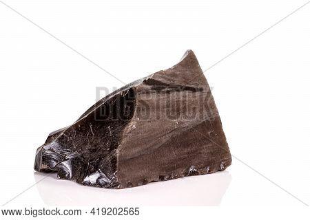 Macro Stone Obsidian Mineral On White Background