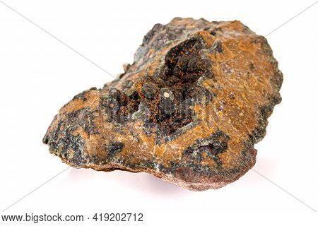 Macro Stone Mineral Quartz With Chlorite On A White Background