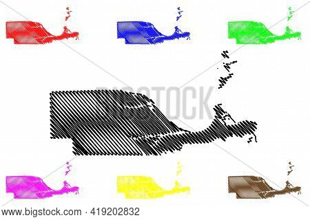 Ottawa County, Ohio State (u.s. County, United States Of America, Usa, U.s., Us) Map Vector Illustra