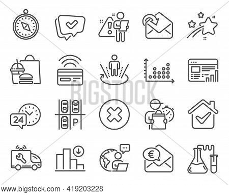 Technology Icons Set. Included Icon As Parking Place, Car Service, Receive Mail Signs. 24h Service,