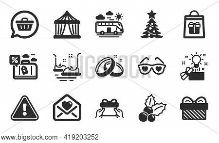 Holidays Shopping, Circus Tent And Bus Travel Icons Simple Set. Christmas Holly, Gift And Love Glass