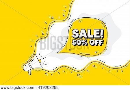 Sale 50 Percent Off Discount. Loudspeaker Alert Message. Promotion Price Offer Sign. Retail Badge Sy