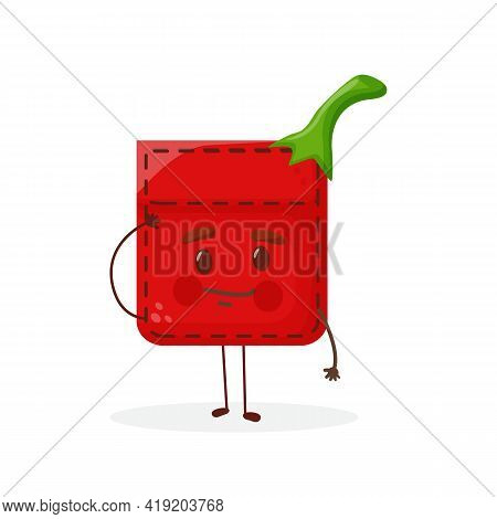 Pepper Shaped Patch Pocket. Character Pocket Pepper. Cartoon Style. Isolated On White Background. De