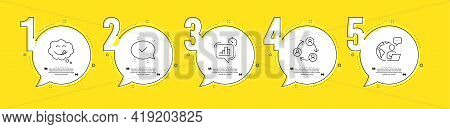 Yummy Smile, Teamwork And Statistics Timer Line Icons Set. Timeline Process Infograph. Approved Sign