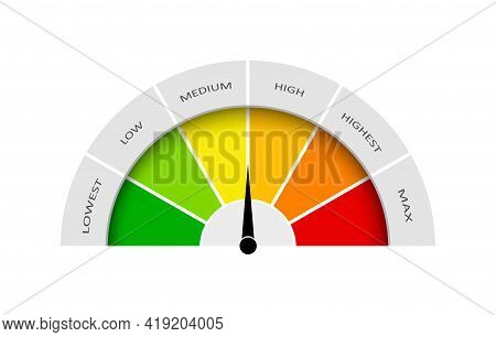 Meter Gauge. Speedometer With Measure Satisfaction. Dial With Level Of Quality. Rate With Icon Of Lo
