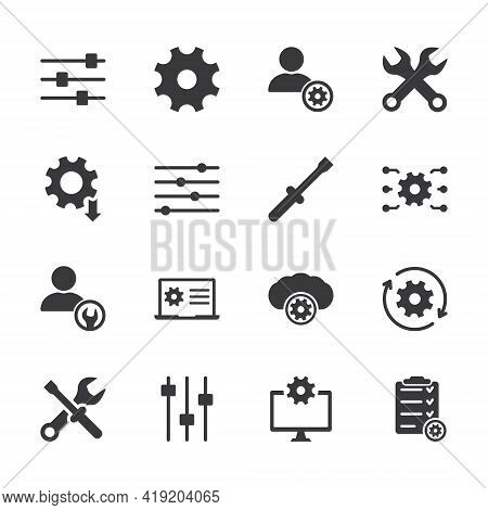 Simple Set Of Setup, Repair And Settings. Gear, Screwdriver And Wrench Icons. Technical Support, Set