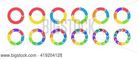 Arrow Chart. Circle Diagram With Arrow. Color Infographic Piechart With Flow Repeat. Cycle Statistic