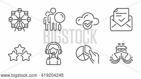 Approved Mail, Ferris Wheel And Ship Line Icons Set. Search People, Cloud Computing And Pie Chart Si