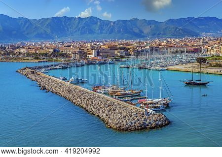 Palermo, Sicily, Italy - March 26, 2021: Panoramic View Of Old Port Of Palermo With Boats And The Co