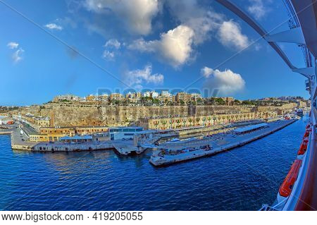 Valletta, Malta - March 25, 2021: Part Of Valletta Waterfront, Also Known As Pinto Wharf Or Pinto St