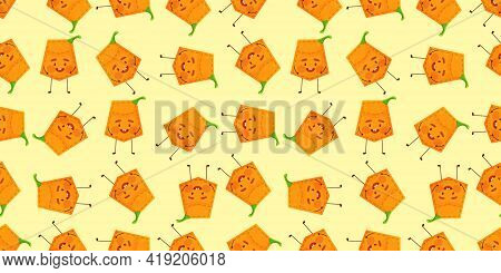 Seamless Pattern Pumpkin Shaped Patch Pocket. Character Pocket Pumpkin. Cartoon Style. Design Elemen