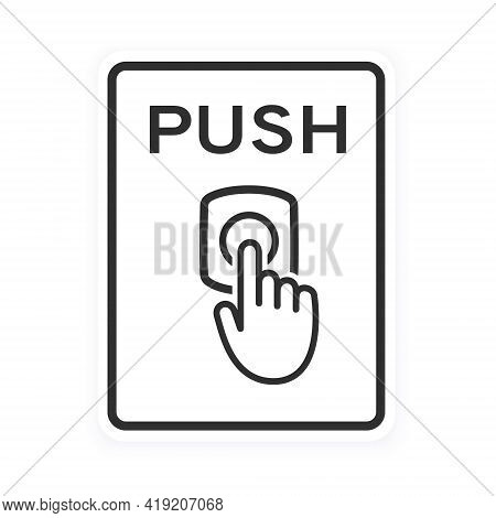 Door Bell Icon Flat Style Design Outline Sign Vector Illustration Isolated On White Background. Push
