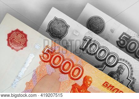 Russian Banknotes 5000, 1000 And 500 Rubles Close-up. Bright Expressive Illustration About Economy A
