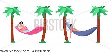 Beach Hammock Rest. Relaxation In Hammocks, Summer Lounge Holiday Ocean Relax. Woman Man Vacation Se