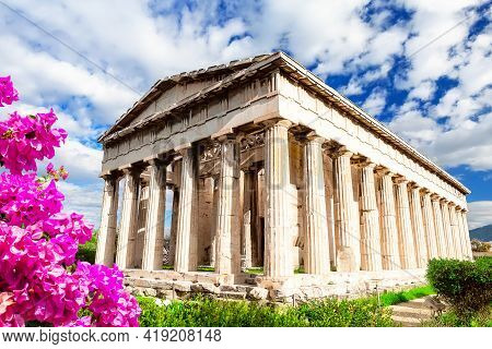 Temple Of Hephaestus In Athens, Greece. Sunny View Of Ancient Greek Ruins In The Athens Center. The