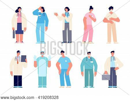 Different Medical Characters. Man Doctors Nurse, Doctor With Mask. Cartoon Dentist, Male Surgeons. H