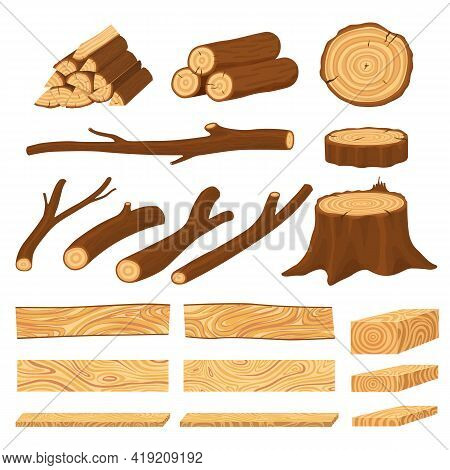 Cartoon Timber. Pine Wood Timbers, Planks Stacks And Old Firewood Objects. Lumbers Pile, Forest Stum