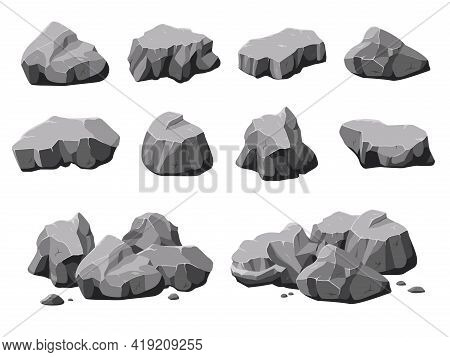 Cartoon Natural Stones. Boulder Rock, Stone And Rubble Pile. Isolated 3d Mountain, Gray Rough Granit