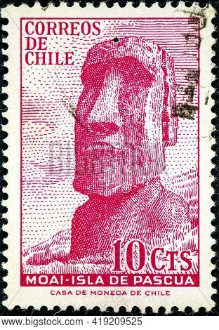 Chile - Circa 1965: A Stamp Printed In Chile Shows A Moai Of Easter Island Circa 1965