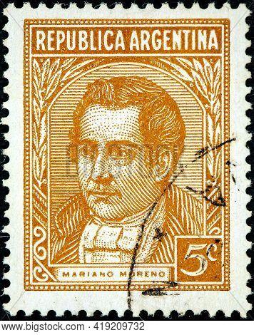 Argentina - Circa 1935: A Stamp Printed In The Argentina, Depicts Mariano Moreno, Circa 1935
