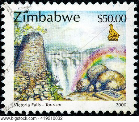 Zimbabwe - Circa 2000: A Stamp Printed In Zimbabwe Shows Victoria Falls, Circa 2000