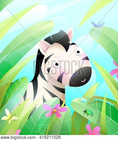 Cute Baby Zebra Hiding In Savannah In Grass And Leaves. Colorful Wildlife Illustration For Kids Nurs