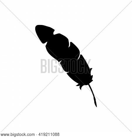 Silhouette Image Feather. Nib Icon. Illustration Graphics Icon Vector