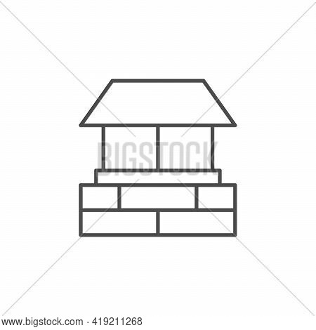 House Chimney Line Outline Icon Isolated On White