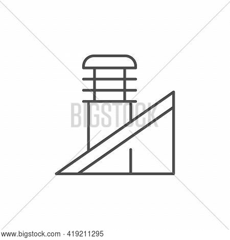 Vent Pipe Line Outline Icon Isolated On White