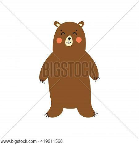 Bear. Design Of Vector Illustrations Of Fashionable Fabrics, Textile Graphics, Prints.