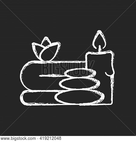Spa Chalk White Icon On Black Background. Luxurious Spa Facilities And Signature Spa Treatments. Off