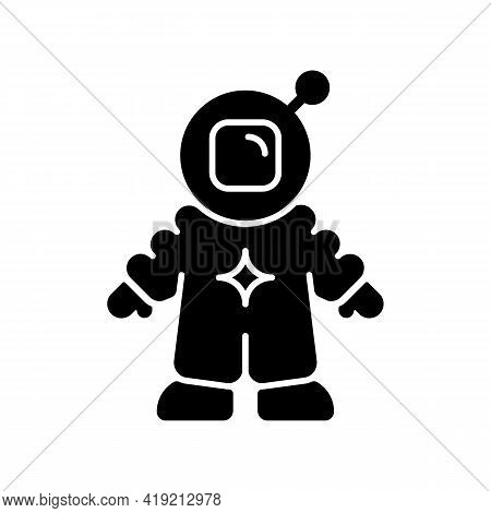 Astronaut Black Glyph Icon. Person Trained And Deployed By Spaceflight Program. Crew Member On Board