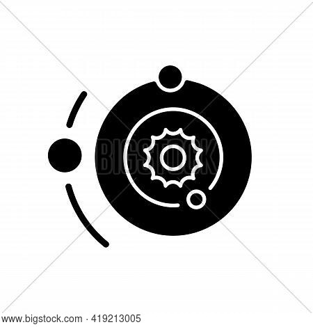 Solar System Black Glyph Icon. Space Bodies System Of Sun And Planets That Orbit Around It. Space En