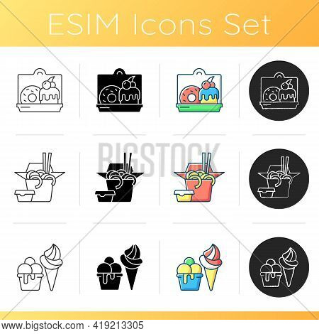 Pickup And Delivery Option Icons Set. Cakes, Desserts. Chinese Food. Ice Cream. Sweet Baked Food. Fr