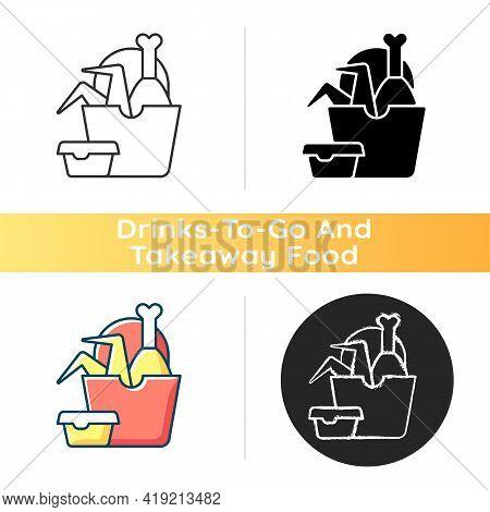 Takeaway Fried Chicken Icon. Crispy Chicken Wings, Legs Bucket. Fast-food Restaurant. Red Meat Intak