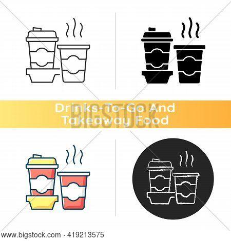 Coffee To Go Icon. Consuming Caffeine. Morning Beverage. Cappuccino, Americano, Espresso. Stimulant.